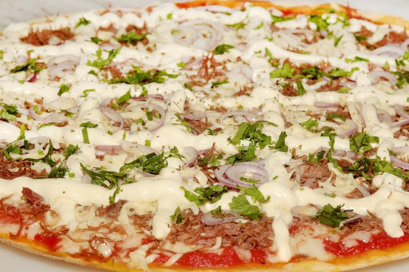 "Pizza ""Arretada"" do Massa Finna, com massa de jerimum"